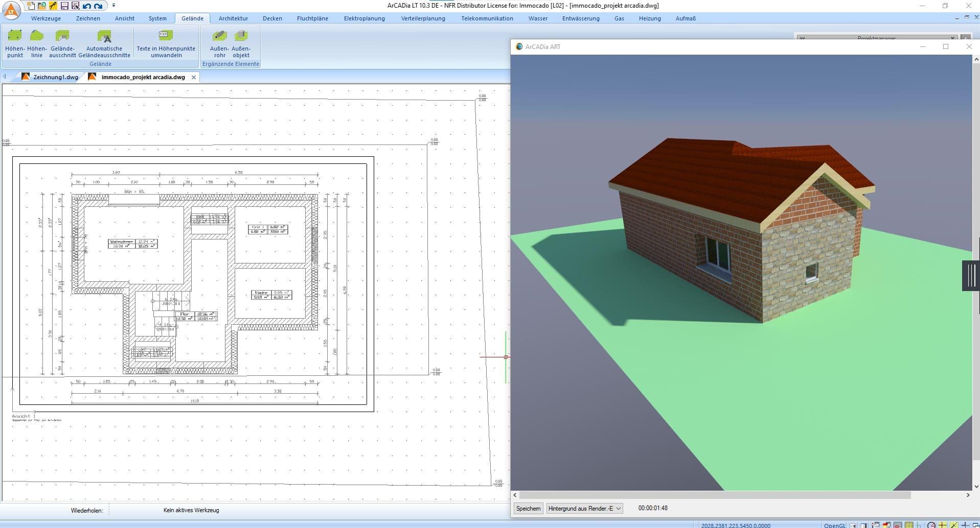 2D und 3D Ansicht im Hausplaner Programm